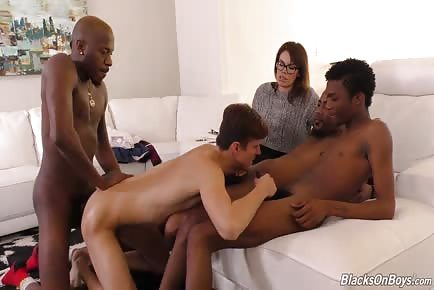 Wife watches husband get fucked by 4 big dick black guys