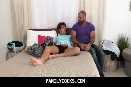 Teen stepson caught by hot hairy bear dad jerking off-FAMILYCOCKS.COM