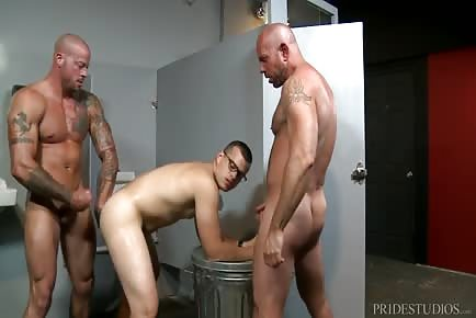 Interracial Spitroast Threesome At Gloryhole Room