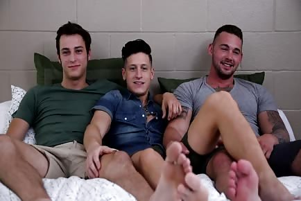 Horny College Jock Takes Two Hard RAW Cocks In Ass
