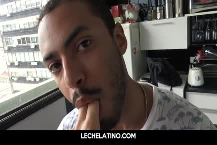 Hot Latin guy eager to suck and fuck uncut cock for cash-LECHELATINO.COM