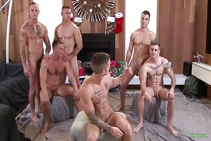 Six Military Hunks In Hardcore Bareback Orgy