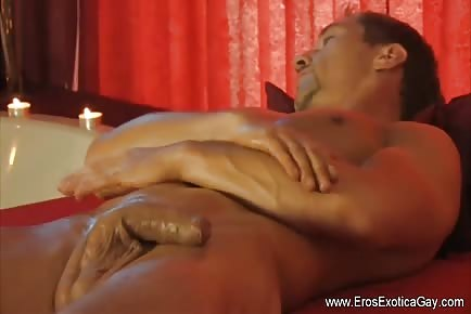 Handsome Gay Self Massage And Cock Stroking