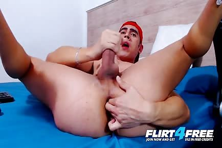 Sexy Latino Model Brant Morrison Spreads His Ass For Dildo And Fingers