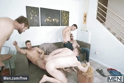 Hunk roommates gay living room orgy