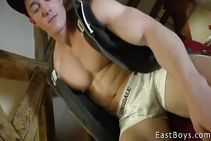 Shaved Muscular Jock Worshiped In Apartment