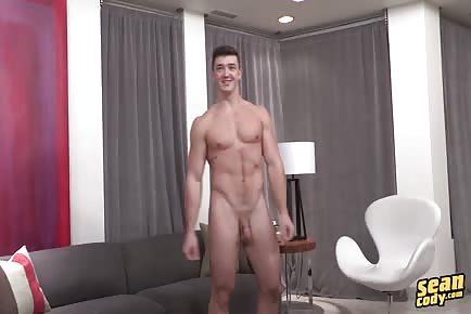 Shaved Ripped College Boy Wanks Off On A Chair