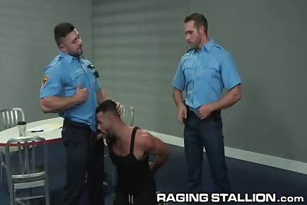 Daddy Hunk Spitroasted By Two Hung Police Officers