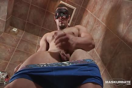 Masked French Cutie Wanks His 9 Inch Cock