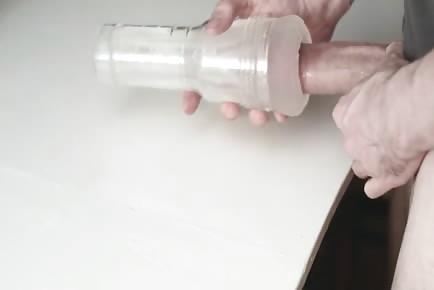 Uncut cock fucking transparent fleshlight
