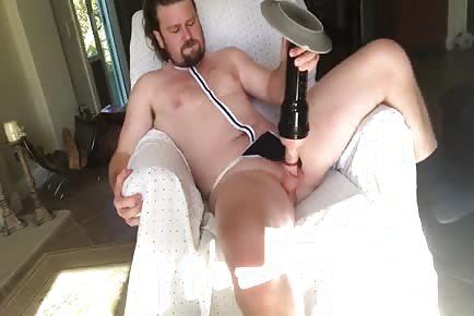 Bear fucks his fleshlight on webcam