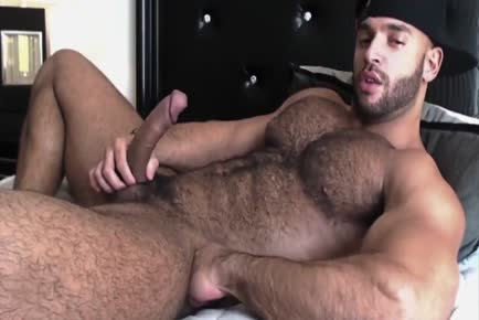 Hottest BEAR cums on hairy self jerking off solo