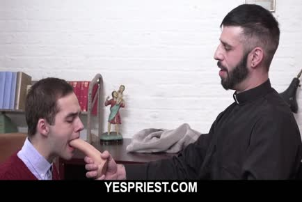 Teen altar boy gets his assed punished by fathers big dick and dildo in church YESPRIEST.COM