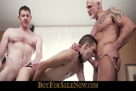 Slave twink gets destroyed by big dick daddies in BDSM threesome BOYFORSALENOW.COM