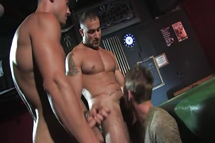 Two jacked men brutalize and dominate guy with their thick cocks