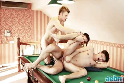 Pool table bareback threesome