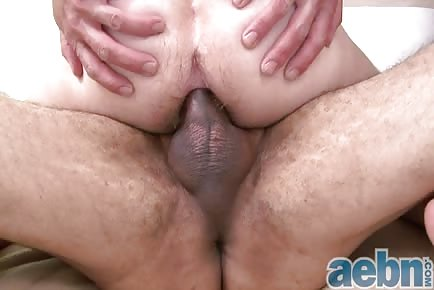 Fat brown dick stroking and ravaging slippery pink asshole