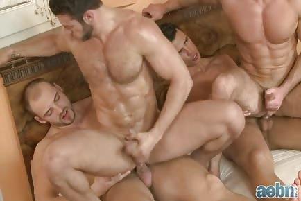 Muscular men orgy