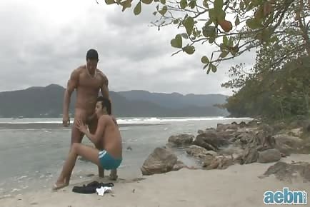 Latino beach bareback sex