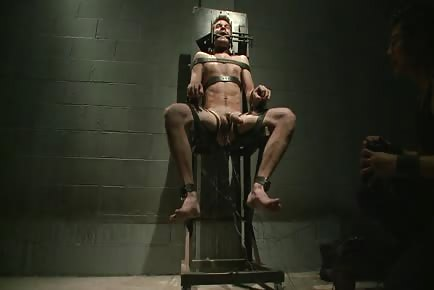 Straight Stud James Riker Gets An Electric Ass Plug Installed In Chamber